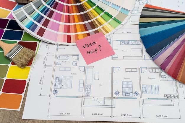 Hausplan mit farbfeldern und hilfetext
