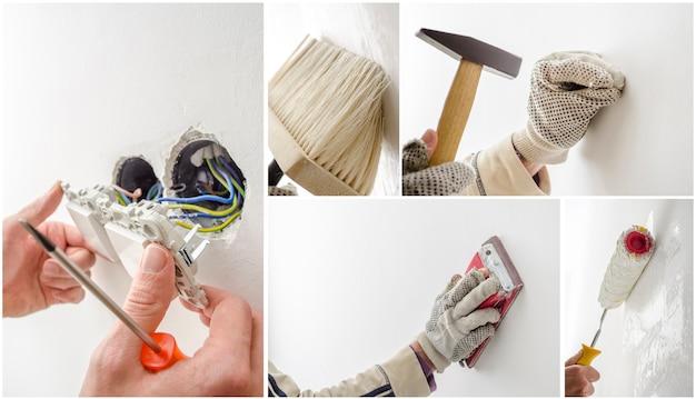 Hausrenovierungscollage, ein satz von fünf fotos.