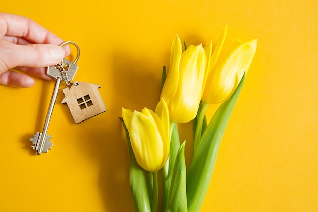 Hausschlüssel in der hand auf gelbem hintergrund und frühlingstulpen.