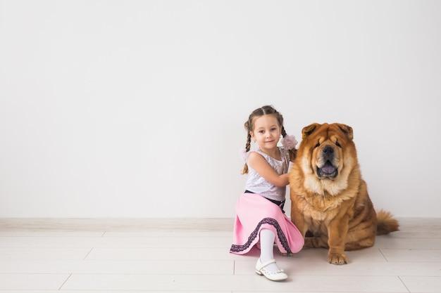 Haustiere, kinder und freundschaftskonzept - kleines mädchen, das ihren hund chow-chow über weißer wand umarmt