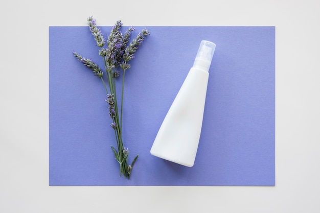 Hautpflege bio-creme und blumen