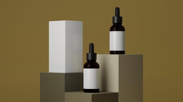 Hautpflege-vorlage braune glas-tropfflasche mit weißem etikett und box-paket auf erdfarbenem podium