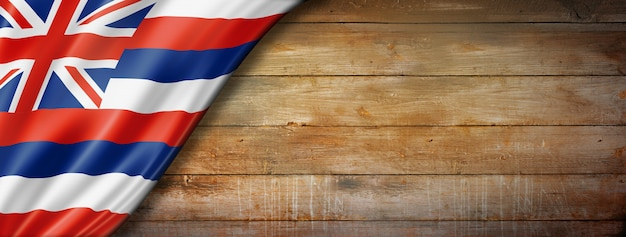 Hawaii-flagge auf alter holzwand, usa. 3d-darstellung