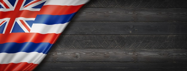 Hawaii-flagge auf schwarzem holzwandbanner, usa. 3d-illustration