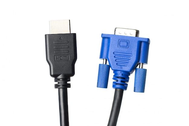 Hdmi- und vga-kabel isoliert. wählen sie zwischen moderner hdmi- und alter vga-verbindung