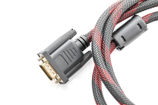 Hdmi- und vga-kabelanschluss auf weiß