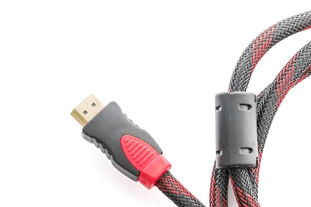 Hdmi- und vga-kabelstecker auf weiß