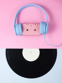 Headset mit audiokassette, lp-aufnahme