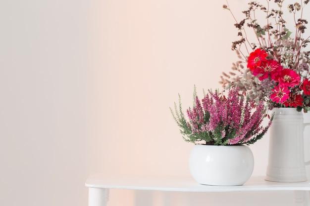 Heidekraut im blumentopf und blumenstrauß in der vase auf weißem hintergrund