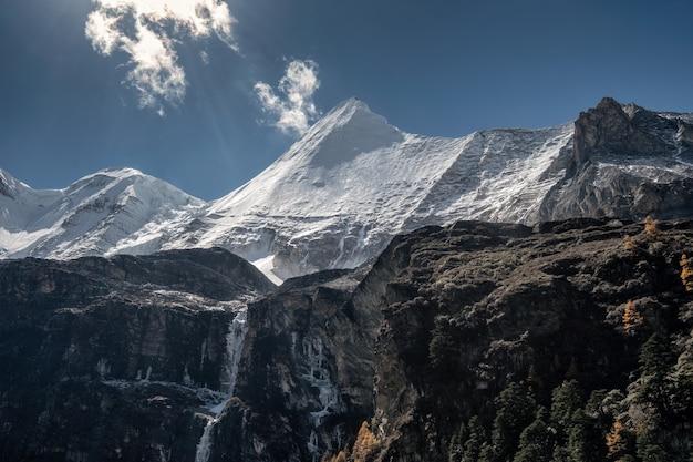 Heiliger berg yangmaiyong mit herbstkiefernwald auf hochebene