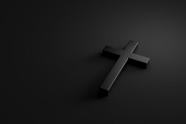 Heiliges kreuz oder religionskruzifix auf schattenbildhintergrund mit glaubenskonzept. 3d-rendering.