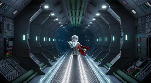 Heimweh-astronautenständer im fensterende des 3d-renderings des korridorraumschiffs