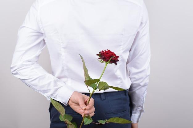 Heiratsantrag konzept. abgeschnittenes nahaufnahmefotoporträt hinter der rückansicht eines gutaussehenden, aufgeregten, fröhlichen romantischen mannes, der eine schöne rose in der hand hält, die der dame isolierten grauen hintergrund gibt