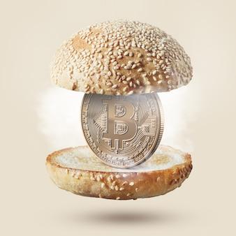 Heiße burgerbrötchen mit einer münze bitcoin gold im inneren. lebensmittelkonzept. kaufen sie lebensmittel für kryptowährung.