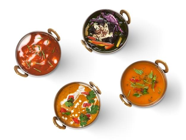 Heiße cremige indische suppen und salate