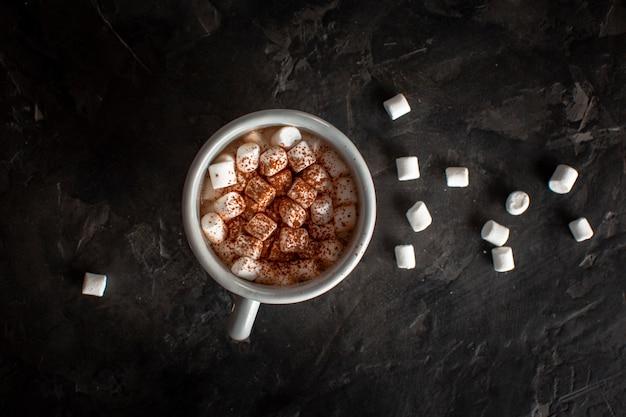 Heiße schokolade mit marshmallows und kakaopulver