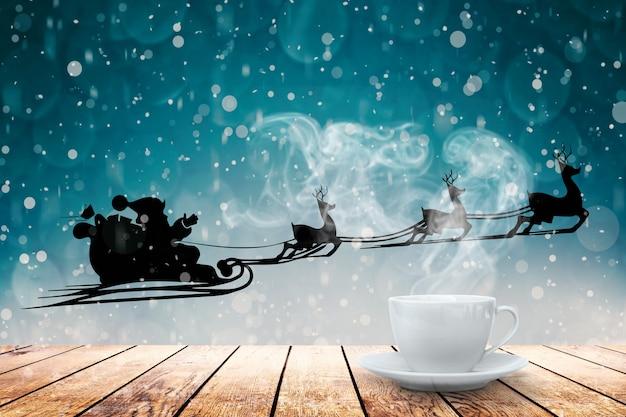 Heißer kaffee auf dem tisch auf einem winterhintergrund