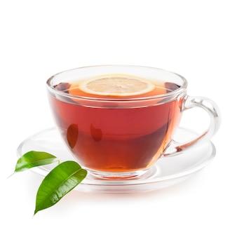 Heißer schwarzer tee mit zitrone