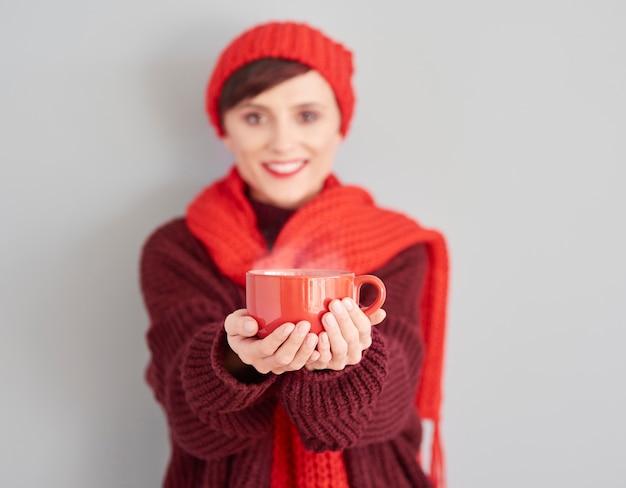 Heißer tee ist am besten im winter