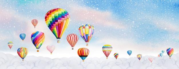 Heißluftballon-aquarellmalerei-landschaftspanoramaillustration auf papier und leuchten licht
