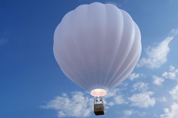 Heißluftballon der 3d-illustration am himmel. weißer, roter, blauer, grüner und gelber luftballon fliegt am himmel.