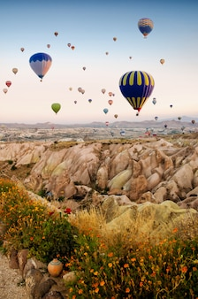 Heißluftballon, der über felsenlandschaft bei kappadokien türkei fliegt