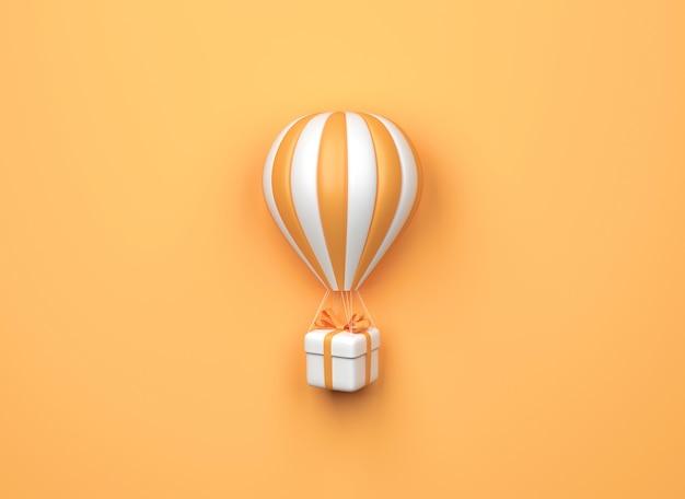 Heißluftballon mit geschenkbox auf orangem hintergrund. minimaler stil. 3d-rendering
