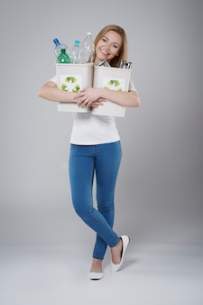 Helfen sie mir, die umwelt durch recycling zu schützen