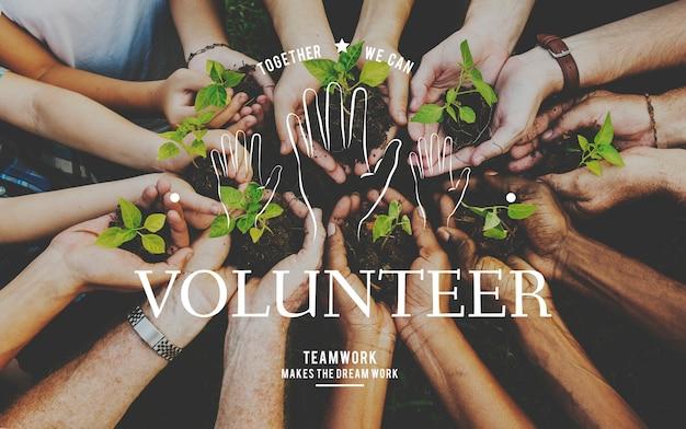 Helfende hände freiwillige unterstützungsgemeinschaftsdienst-grafik