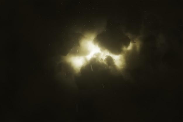 Hell funkelnder blitz bricht in der nacht durch die dichten gewitterwolken
