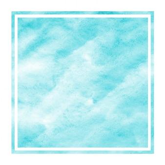 Hellblaue hand gezeichnete rechteckige rahmen-hintergrundbeschaffenheit des aquarells mit flecken