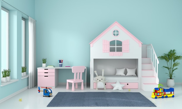 Hellblauer kinderschlafzimmerinnenraum