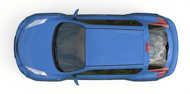 Hellblauer kleinwagen-crossover-suv. 3d-rendering.