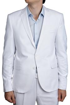 Hellblauer pastellfarbener anzug für männer, anzugjacke und hose, isoliert über weiß.