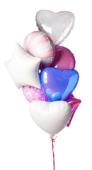 Helle bunte luftballons lokalisiert auf weißem hintergrund