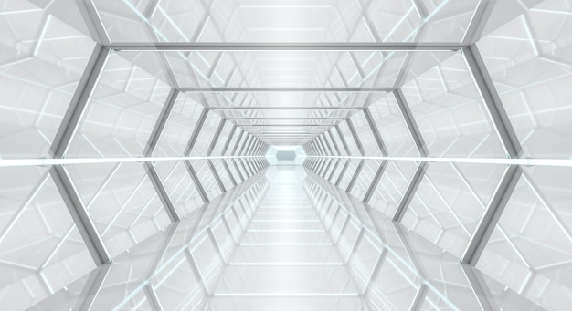 Helle futuristische wiedergabe des raumschiffkorridors 3d