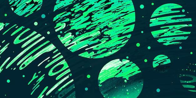 Helle, lebendige neon-spritzer. moderne kunst, saftiger farbhintergrund. schwebende maltechnik. aquarelltapetendesign oder hintergrund für gerät mit wellen und spritzern in grünen, weißen farben.