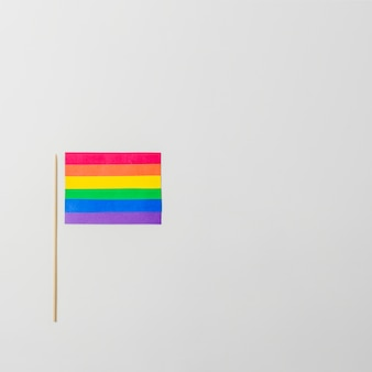 Helle lgbt-papierflagge mit stock