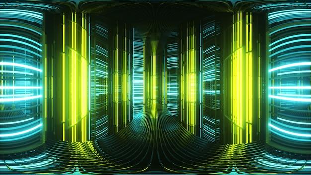 Helle neonlichter in einem metallraum