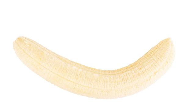 Helle organische gelbe banane auf weißem hintergrund