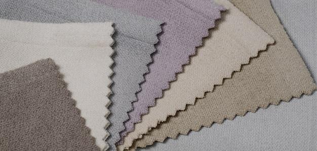 Helle sammlung von velours-textilmustern. stoff textur hintergrund.