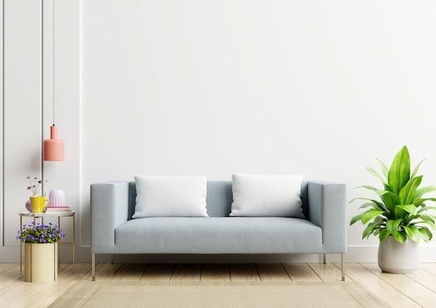 Helle und gemütliche moderne wohnzimmer interieur haben sofa und lampe mit weißer wand.