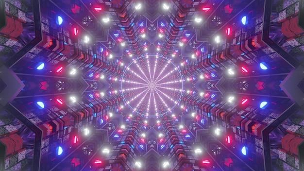 Heller 3d illustrations 4k uhd abstrakter visueller hintergrund des sci-fi-tunnels mit symmetrischem geometrischem design und leuchtenden neonlichtern in den farben der amerikanischen flagge