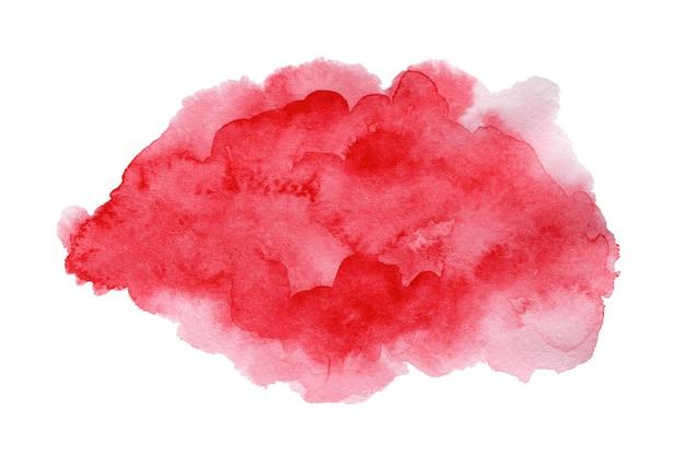 Heller ausdrucksstarker tiefroter und rosa nasser aquarelltexturfleck auf weiß