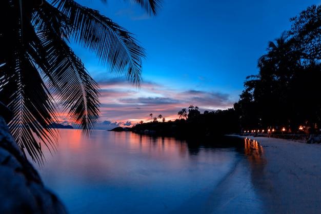 Heller bunter sonnenuntergang auf einer tropeninsel, mit schattenbildern von palmen und tapete, postkarte, koh phangan-insel thailand