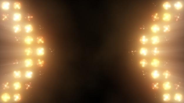 Heller flutlichtblitz an der wand vj stage 3d illustration. blinder blinkende lichter flash club taschenlampen disco lichter matrix glühlampe lampe halogen scheinwerferlampe nachtclub aus