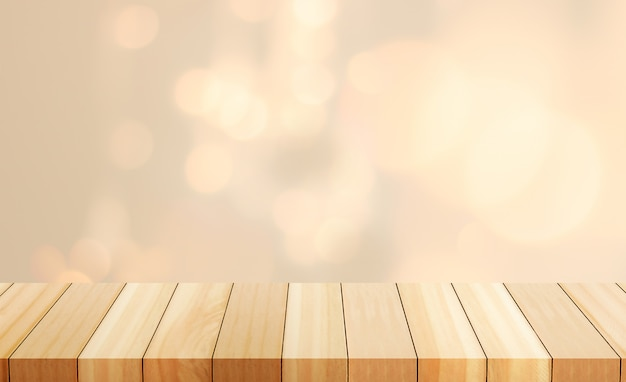 Heller kopierter hintergrund leere tabelle des holzbrettes vor unscharfem hintergrund.