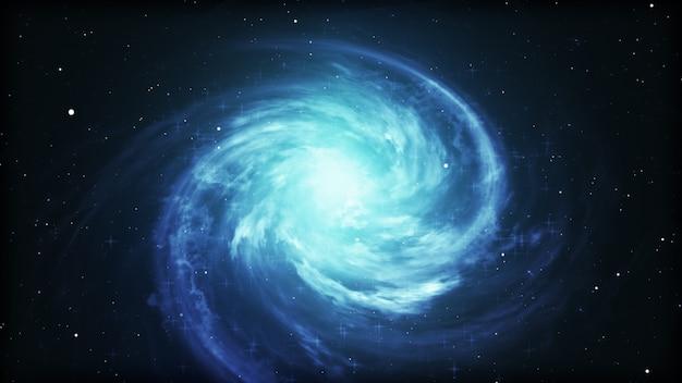 Heller kosmischer hintergrund mit blau leuchtendem wirbel.