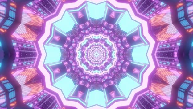 Heller mehrfarbiger abstrakter visueller hintergrund der 3d-illustration mit symmetrischem kaleidoskopischem design mit geometrischem muster