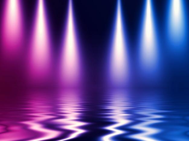 Heller neoneffekt, energiewellen auf einem dunklen abstrakten hintergrund.